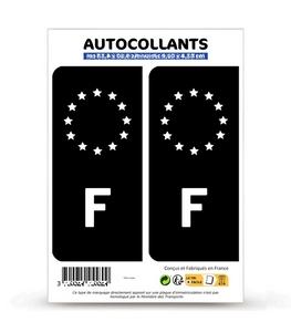 Autocollant plaque immatriculation F France - Identifiant Européen Noir et Blanc