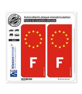 Autocollant plaque immatriculation F France - Identifiant Européen Rouge
