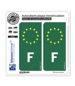 Autocollant plaque immatriculation F France - Identifiant Européen Vert