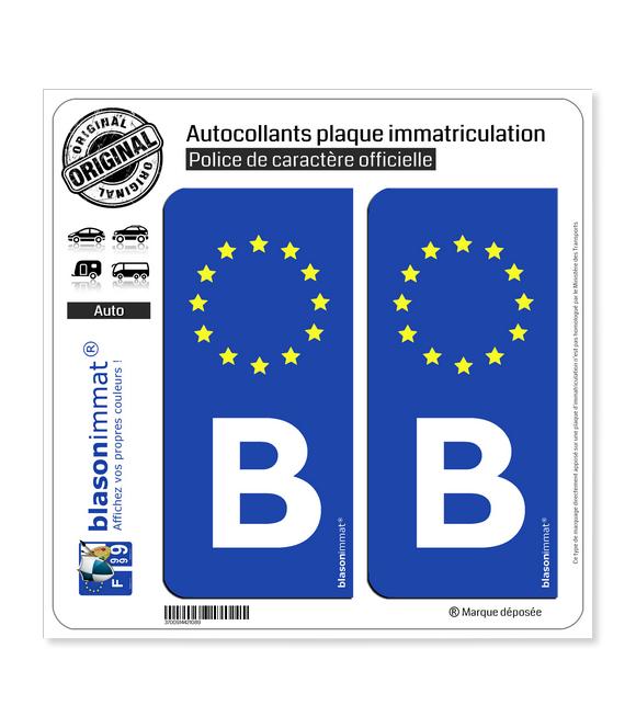 B Belgique - Identifiant Européen | Autocollant plaque immatriculation