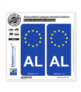 AL Albanie - Identifiant Européen | Autocollant plaque immatriculation