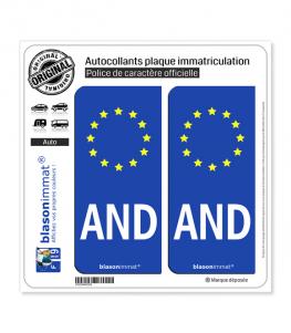 AND Andorre - Identifiant Européen   Autocollant plaque immatriculation