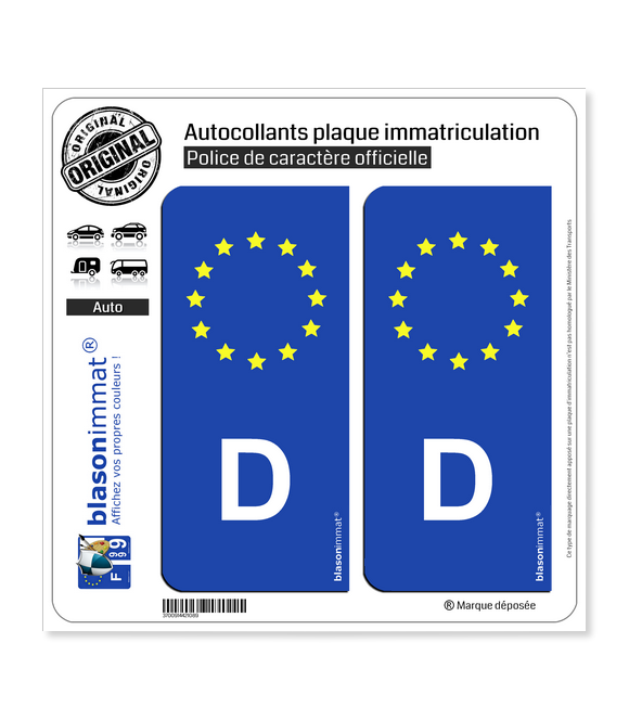 D Allemagne - Identifiant Européen | Autocollant plaque immatriculation