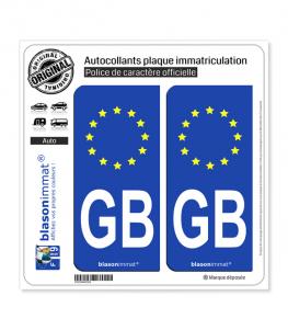 GB Grande-Bretagne - Identifiant Européen   Autocollant plaque immatriculation