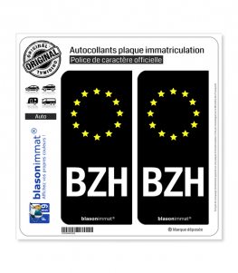 BZH Breizh - Identifiant Européen | Autocollant plaque immatriculation