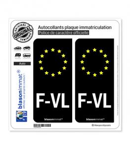 F-VL Flandre Française - Identifiant Européen | Autocollant plaque immatriculation
