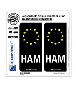 HAM Radioamateur - Identifiant Européen | Autocollant plaque immatriculation