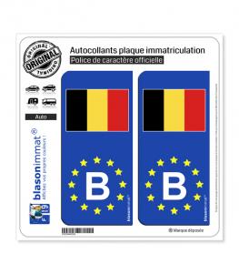 B Belgique Drapeau - Identifiant Européen | Autocollant plaque immatriculation