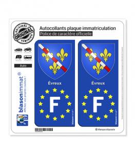 F Evreux Armoiries - Identifiant Européen | Autocollant plaque immatriculation