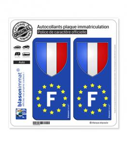 F France Blason - Identifiant Européen | Autocollant plaque immatriculation