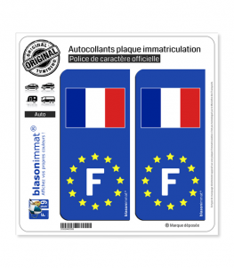 F France Drapeau - Identifiant Européen | Autocollant plaque immatriculation
