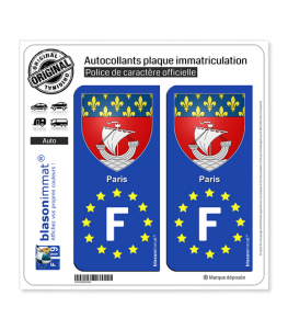 F Paris Armoiries - Identifiant Européen | Autocollant plaque immatriculation