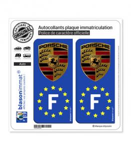 F Porsche - Identifiant Européen | Autocollant plaque immatriculation
