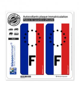 F Drapeau Vertical - Identifiant Européen | Autocollant plaque immatriculation