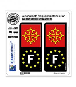 F Occitanie - Identifiant Européen   Autocollant plaque immatriculation