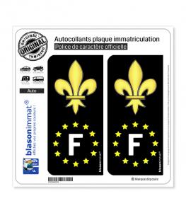F Fleur de Lys - Identifiant Européen | Autocollant plaque immatriculation