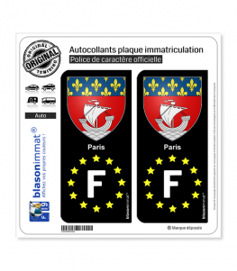 F Paris Armoiries - Identifiant Européen | Autocollant plaque immatriculation