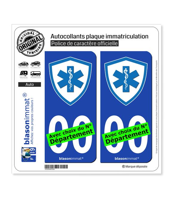 Ambulancier - Blason | Autocollant plaque immatriculation