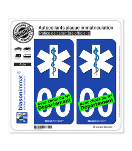 Ambulancier - Etoile de Vie | Autocollant plaque immatriculation