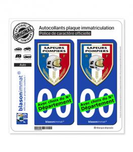 Sapeurs-Pompiers - Blason | Autocollant plaque immatriculation