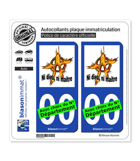 Anarchie - Ni dieu, ni maître | Autocollant plaque immatriculation