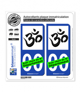 Aum (Om) - Symbole Hindou | Autocollant plaque immatriculation