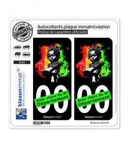 Baby Rasta - Fond Noir | Autocollant plaque immatriculation