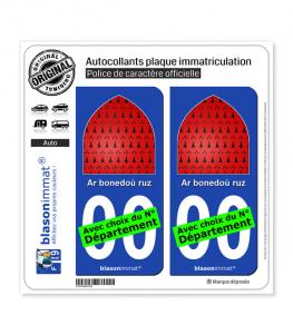 Breizh - Ar bonedoù ruz | Autocollant plaque immatriculation