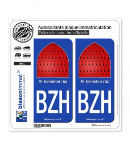 BZH Breizh - Ar bonedoù ruz | Autocollant plaque immatriculation