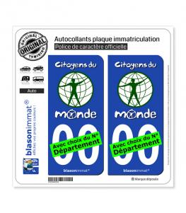 Citoyens du Monde | Autocollant plaque immatriculation