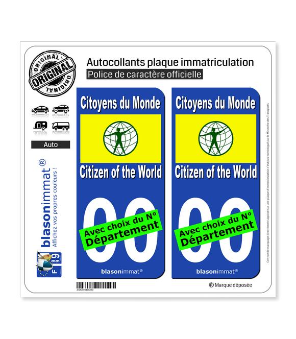 Citoyens du Monde - Drapeau | Autocollant plaque immatriculation
