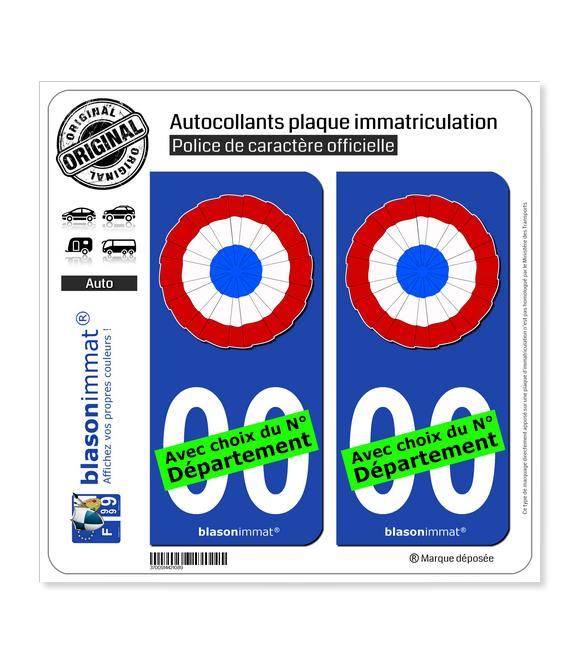 Cocarde Tricolore - Plissée | Autocollant plaque immatriculation