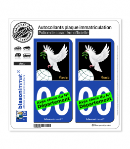 Colombe de la Paix | Autocollant plaque immatriculation