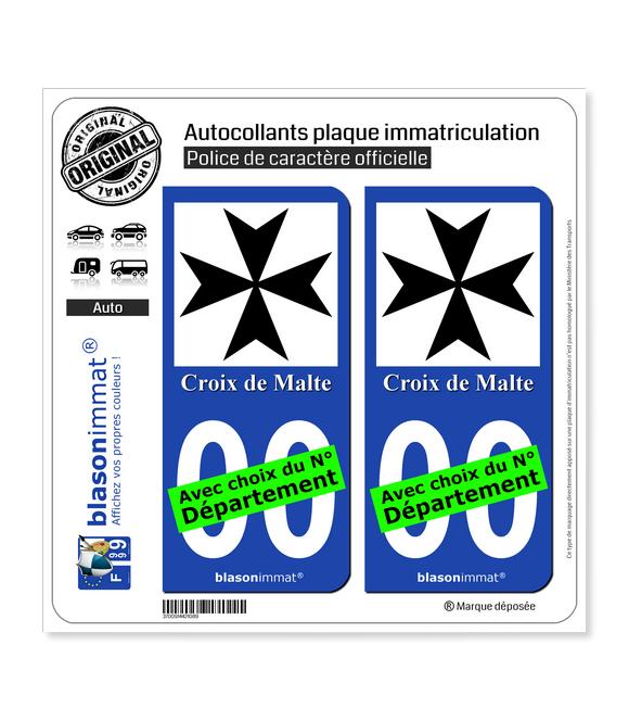Croix de Malte | Autocollant plaque immatriculation