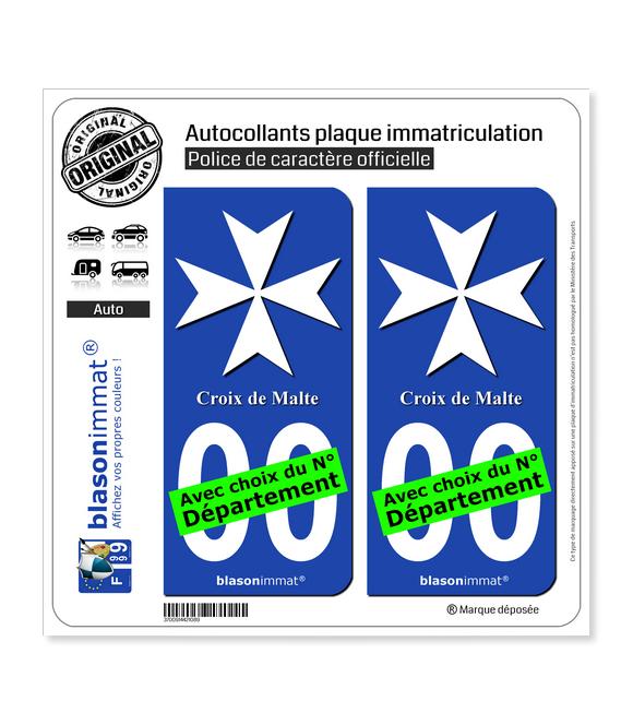 Croix de Malte II   Autocollant plaque immatriculation