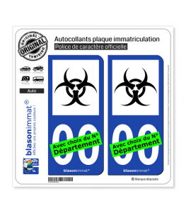 Danger Biologique - Symbole | Autocollant plaque immatriculation