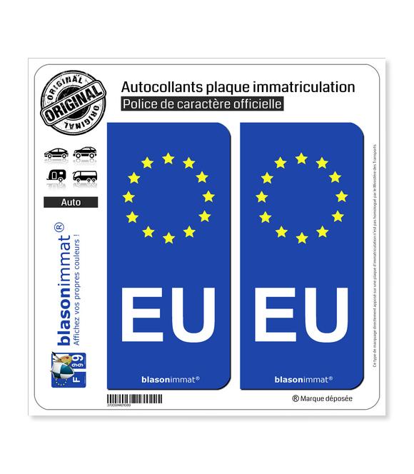 EU Union Européenne - Côté droit   Autocollant plaque immatriculation