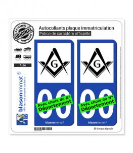 Franc-maçonnerie | Autocollant plaque immatriculation