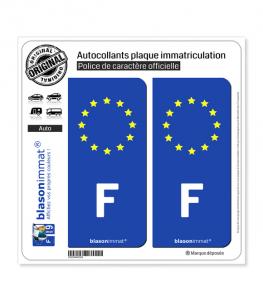 F France Européen - Côté Droit | Autocollant plaque immatriculation