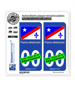Franco-Américain - Drapeau | Autocollant plaque immatriculation