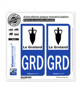 GRD Le Groland - Armoiries | Autocollant plaque immatriculation