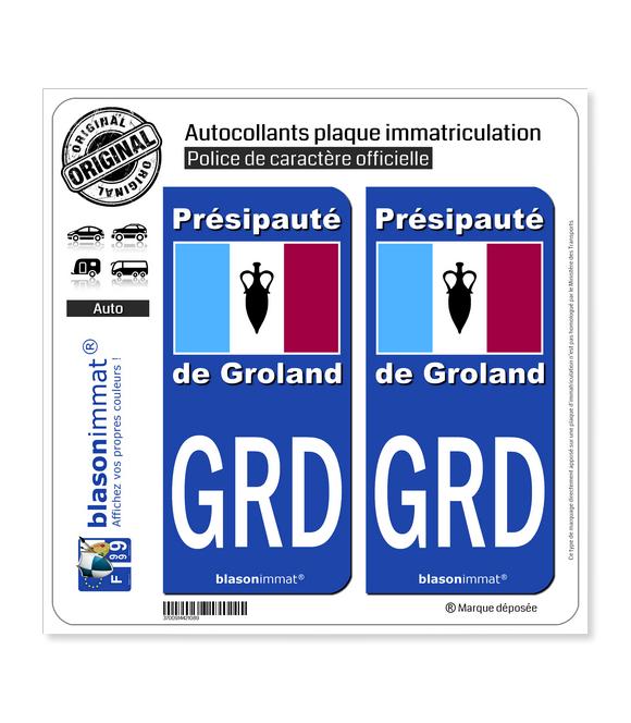 GRD Le Groland - Drapeau | Autocollant plaque immatriculation