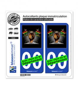 Lion Reggae | Autocollant plaque immatriculation