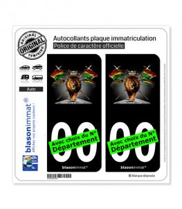Lion Reggae - Black | Autocollant plaque immatriculation