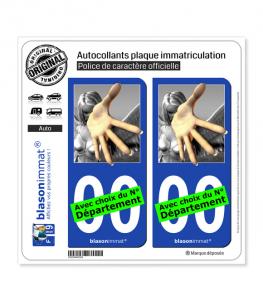 Main Tendue | Autocollant plaque immatriculation