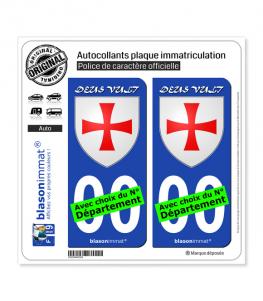 Ordre du Temple - Hugues de Payns | Autocollant plaque immatriculation