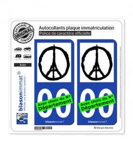Peace For Paris | Autocollant plaque immatriculation