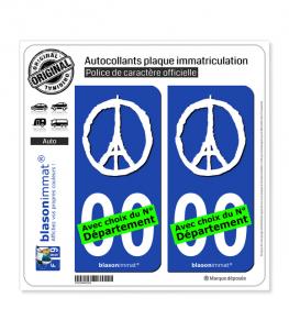 Peace For Paris - White | Autocollant plaque immatriculation