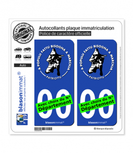 Ribellu Corse - Patriottu | Autocollant plaque immatriculation