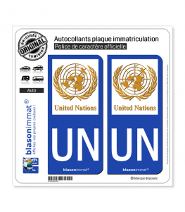 UN United Nations   Autocollant plaque immatriculation